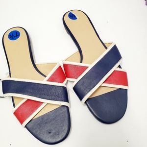 J.crew Colorblock Red White Blue Sandals